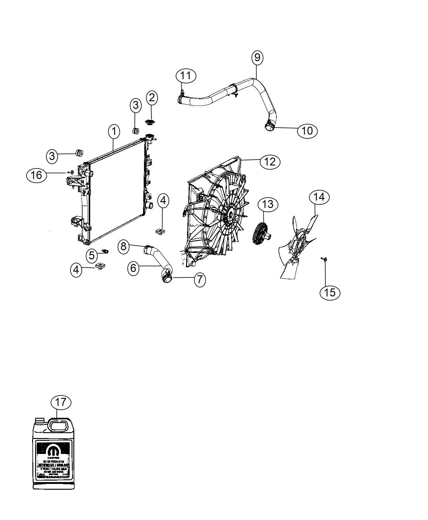Ram Radiator Engine Cooling Module End Front