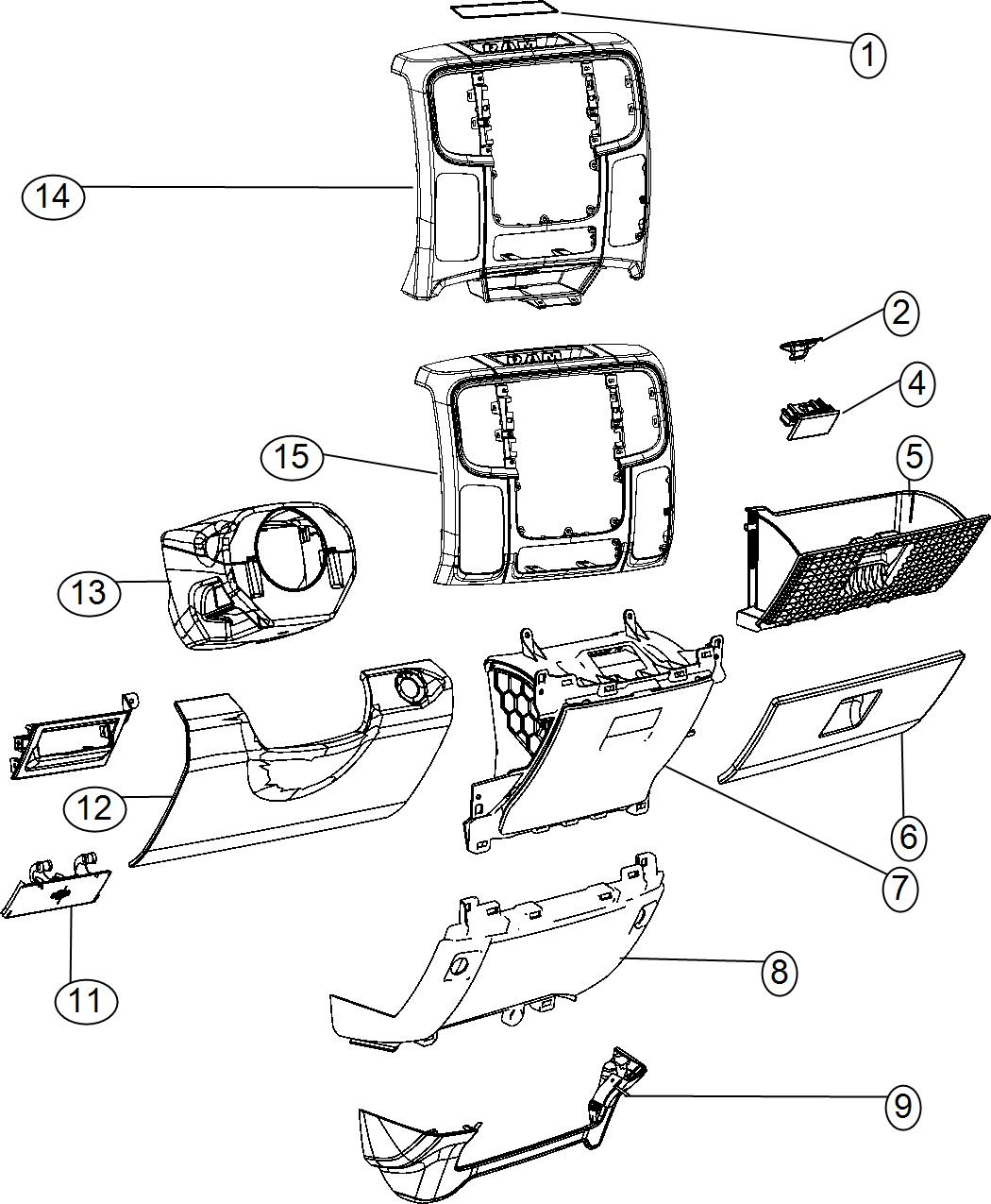 Ram Latch Glovebox Door Trim O0 Color O0 Panel Instrument Module