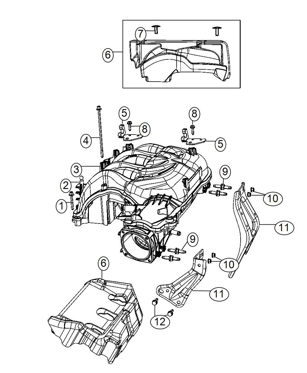 Jeep Wrangler Bracket Engine Cover Manifold Intake