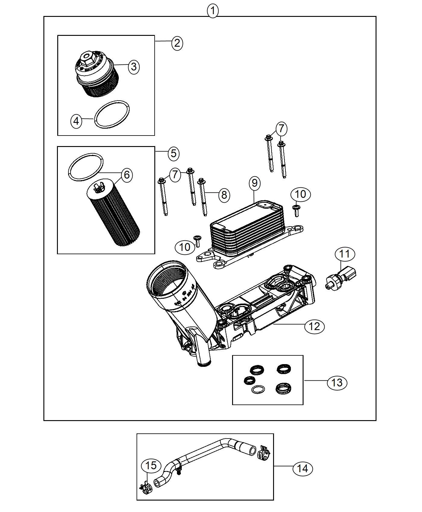 Jeep Wrangler Hose Oil Cooler Outlet Includes