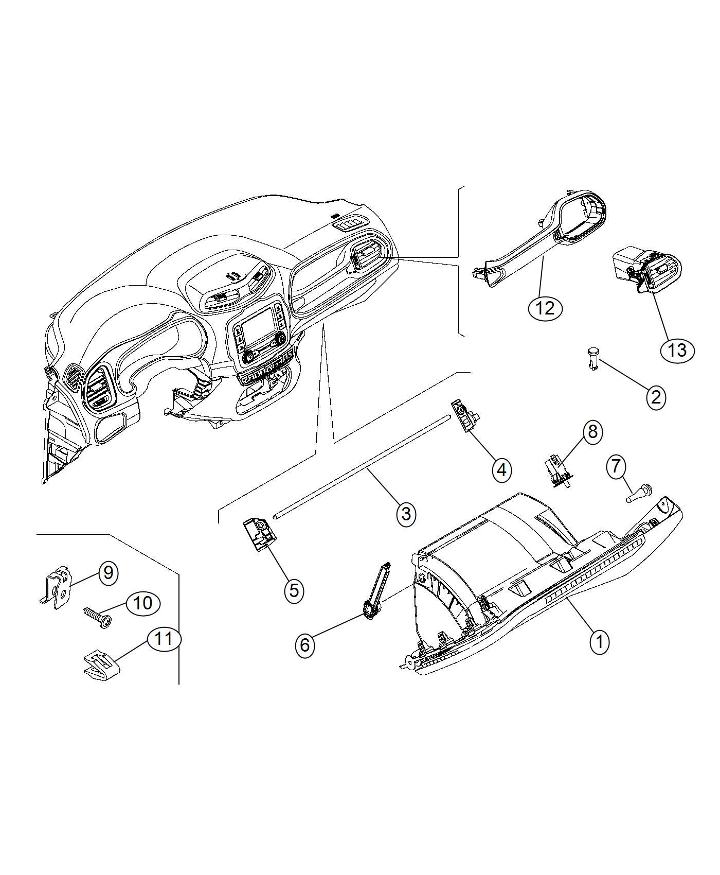 Jeep Renegade Clip Retaining Trim No Description
