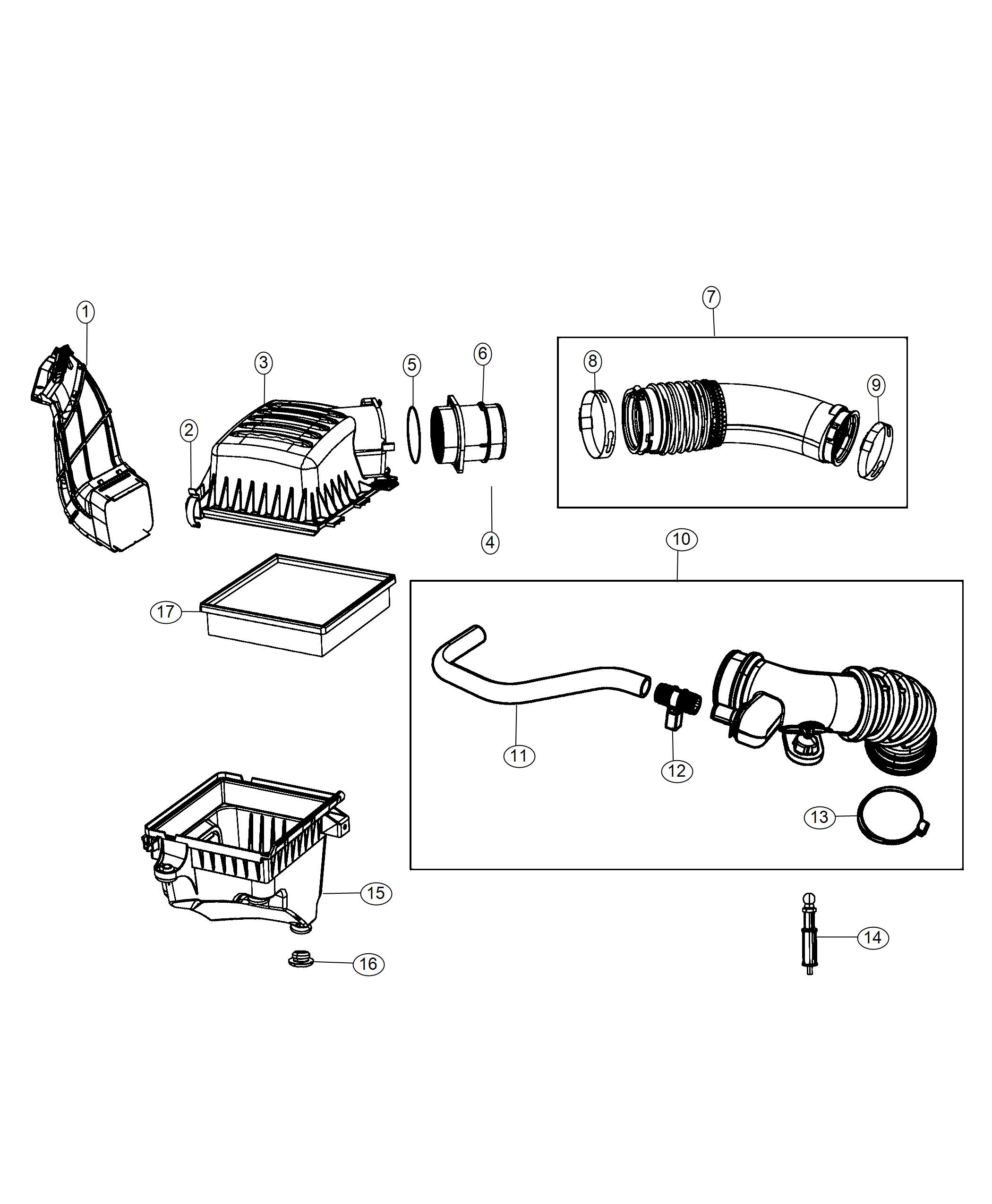 Jeep Grand Cherokee Hose Clean Air Cleaner Exf