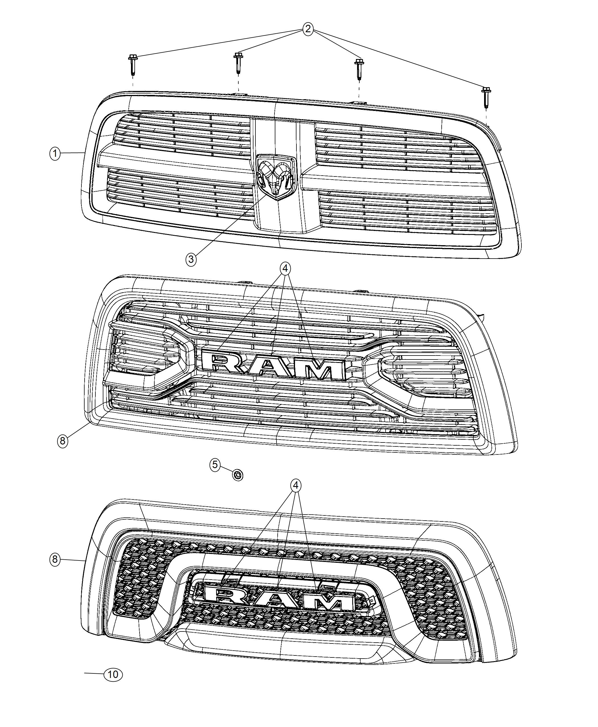 Ram Grille Radiator Front End Parts Module