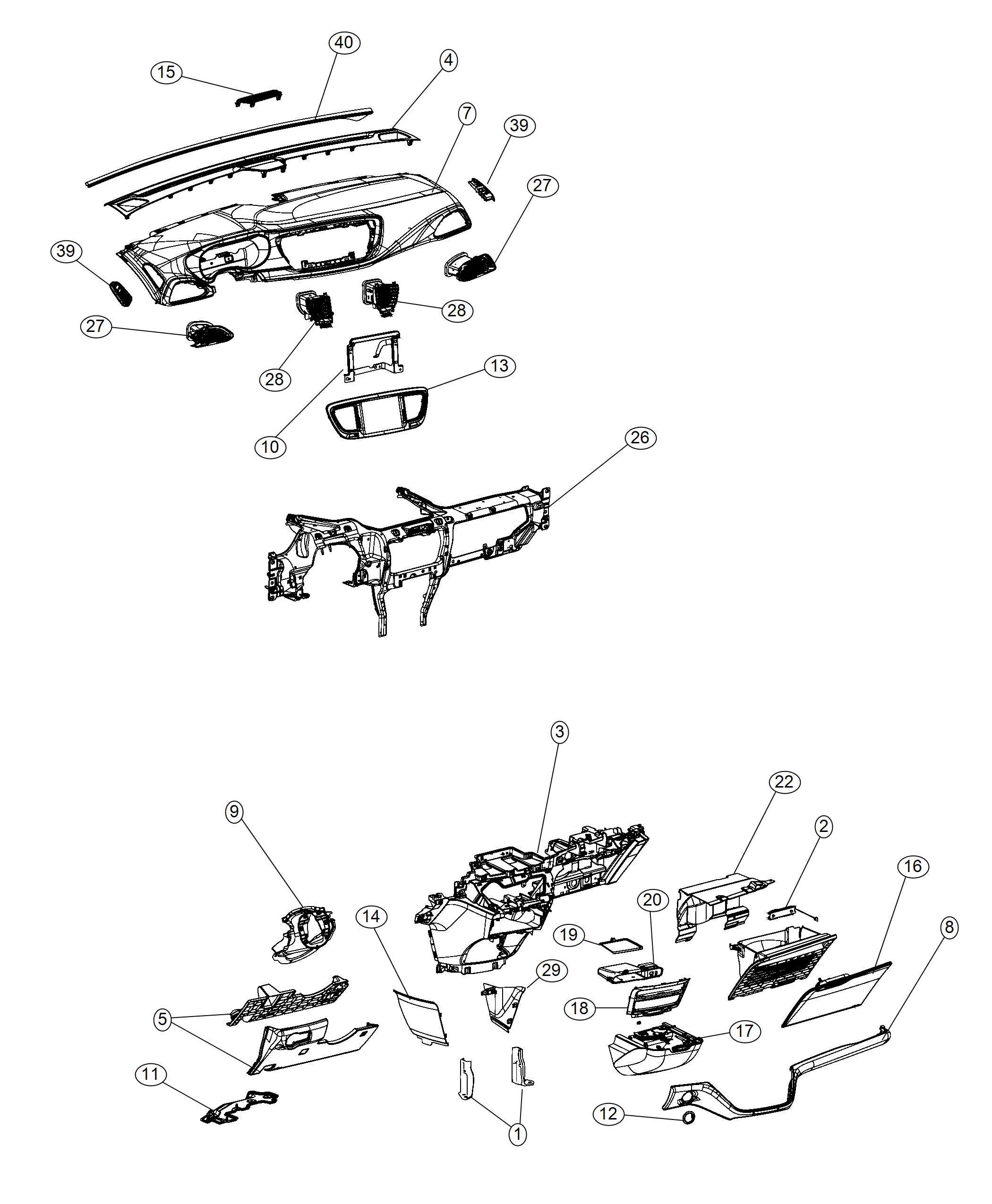 Chrysler Pacifica Bezel Instrument Cluster Black Alloy