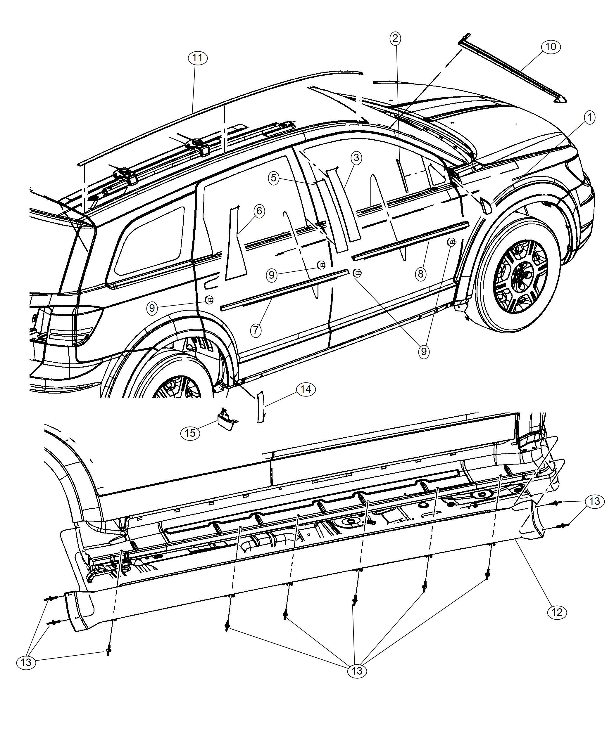 Dodge Journey Applique B Pillar Rear Right Black Out