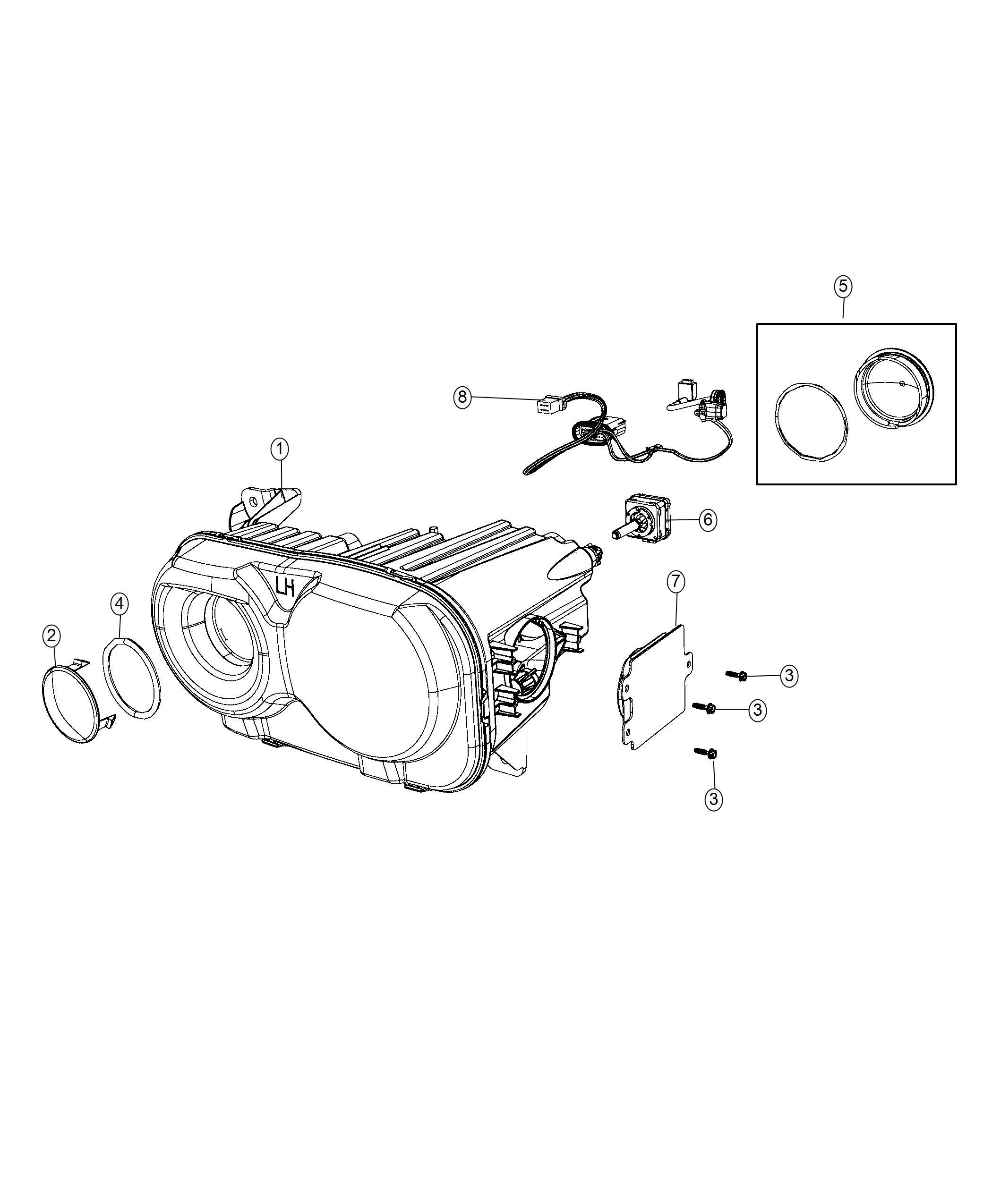 Dodge Challenger Headlamp Left High Intensity Discharge