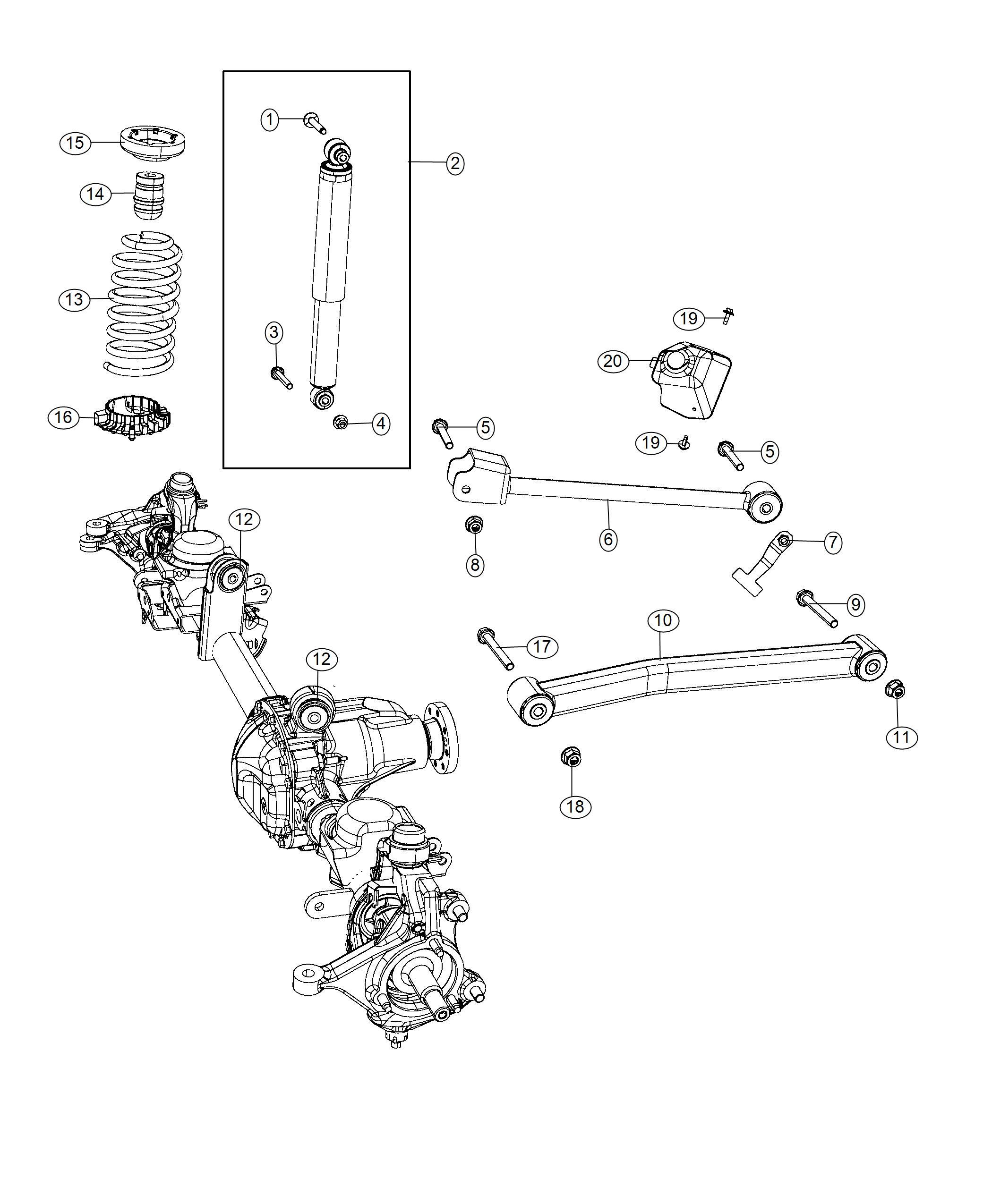 Jeep Wrangler Shock Absorber Kit Suspension Front