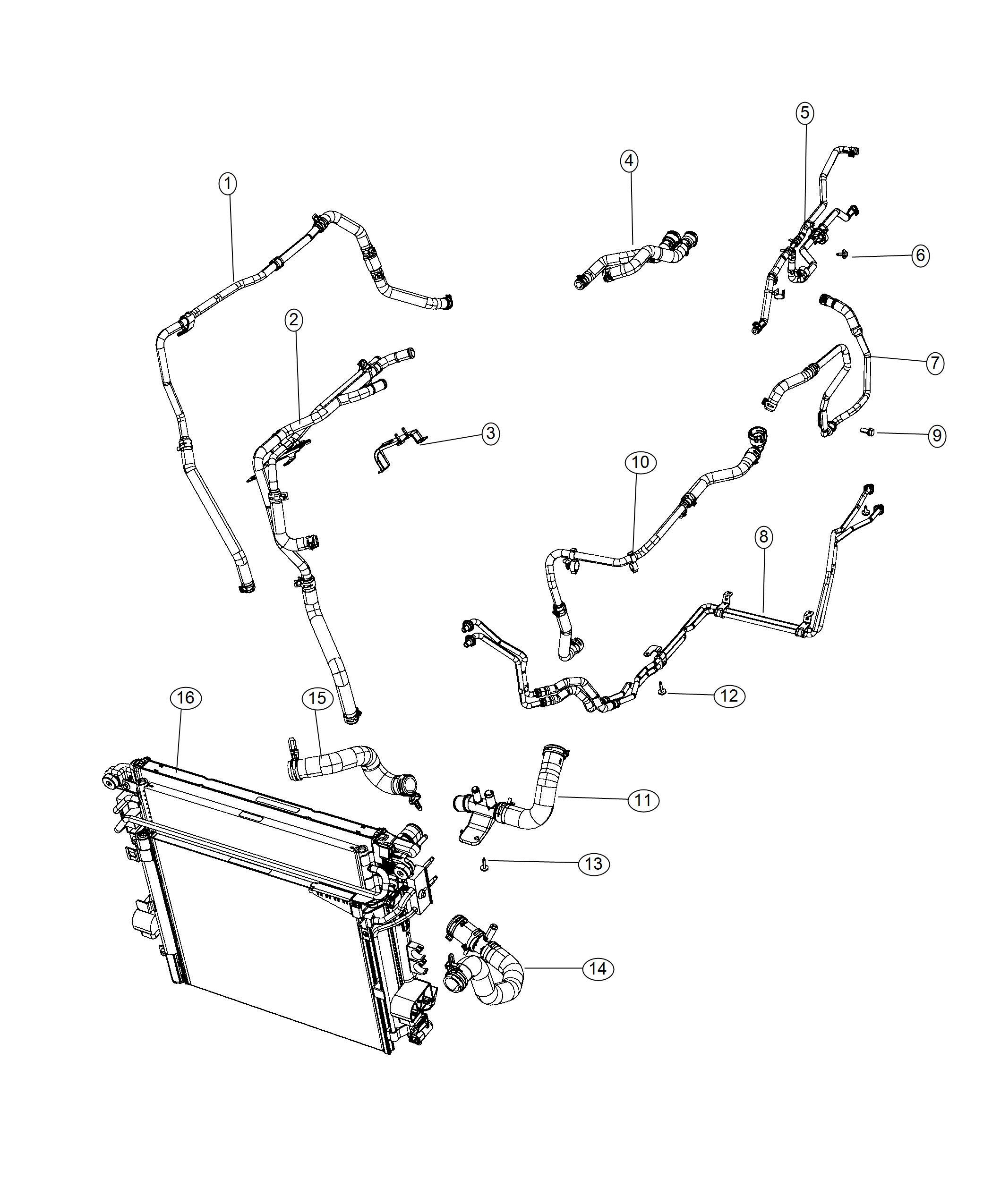 Jeep Wrangler Hose Radiator Outlet Cooling Hoses