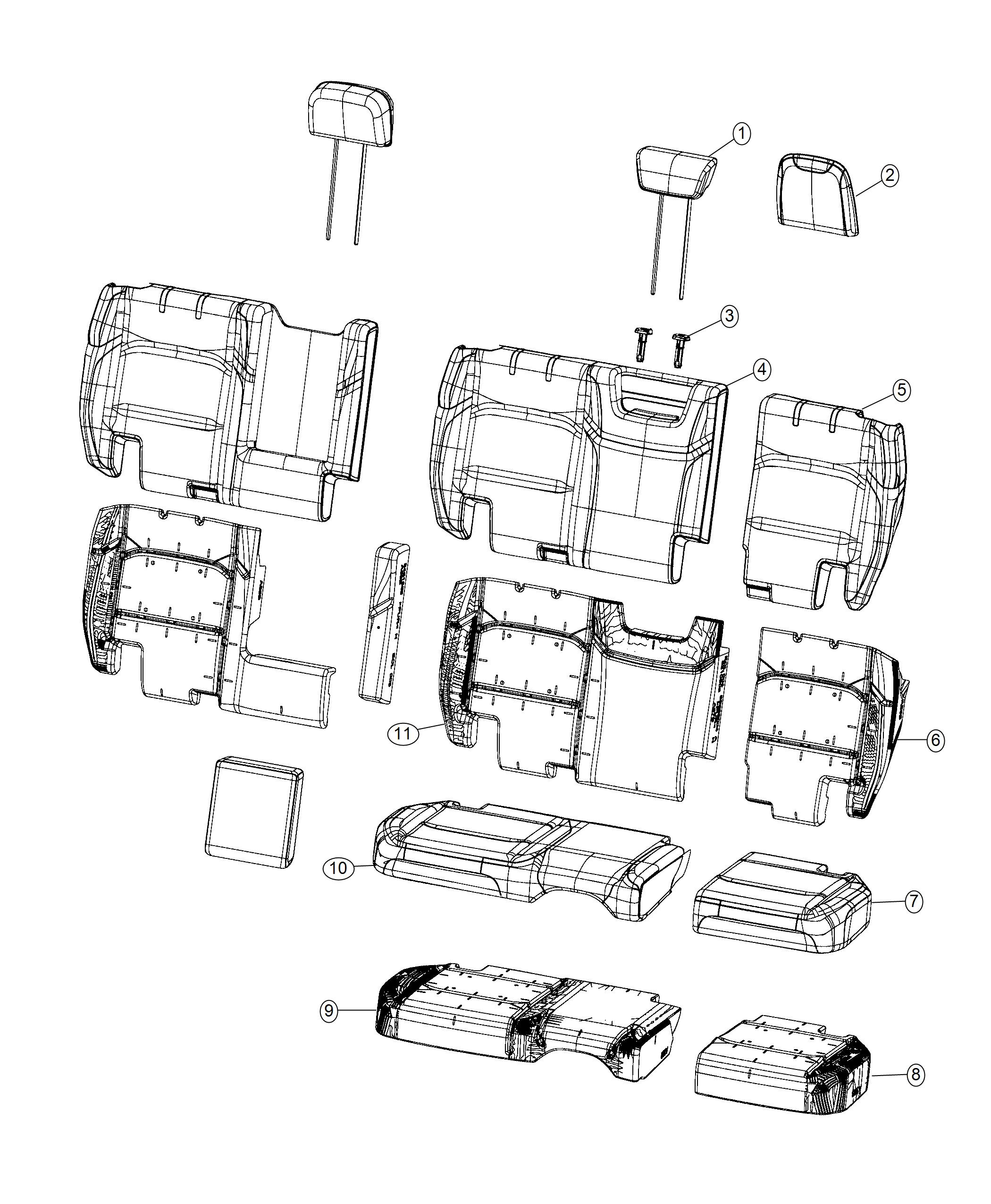 Jeep Wrangler Cover Rear Seat Cushion Trim Prem Cloth