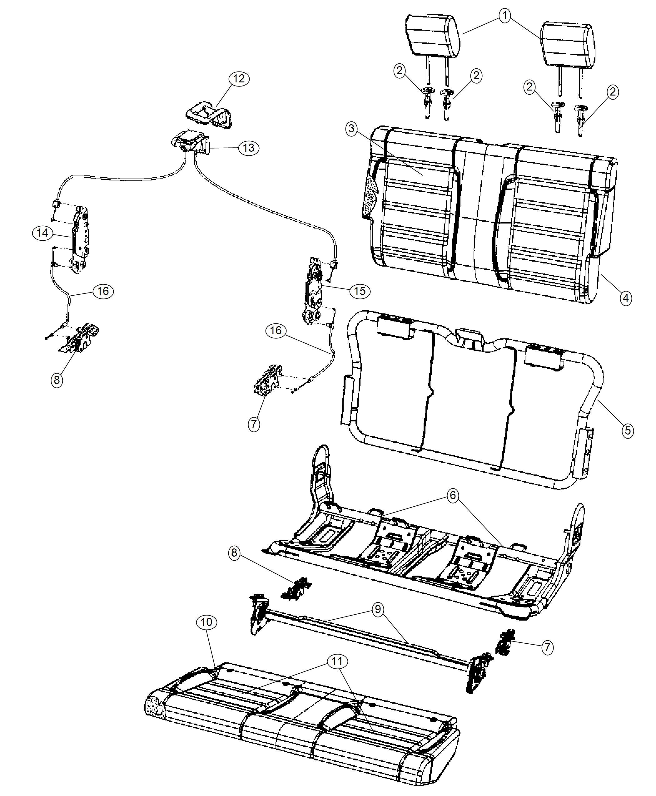 Jeep Wrangler Headrest Rear Trim Premium Cloth Bucket