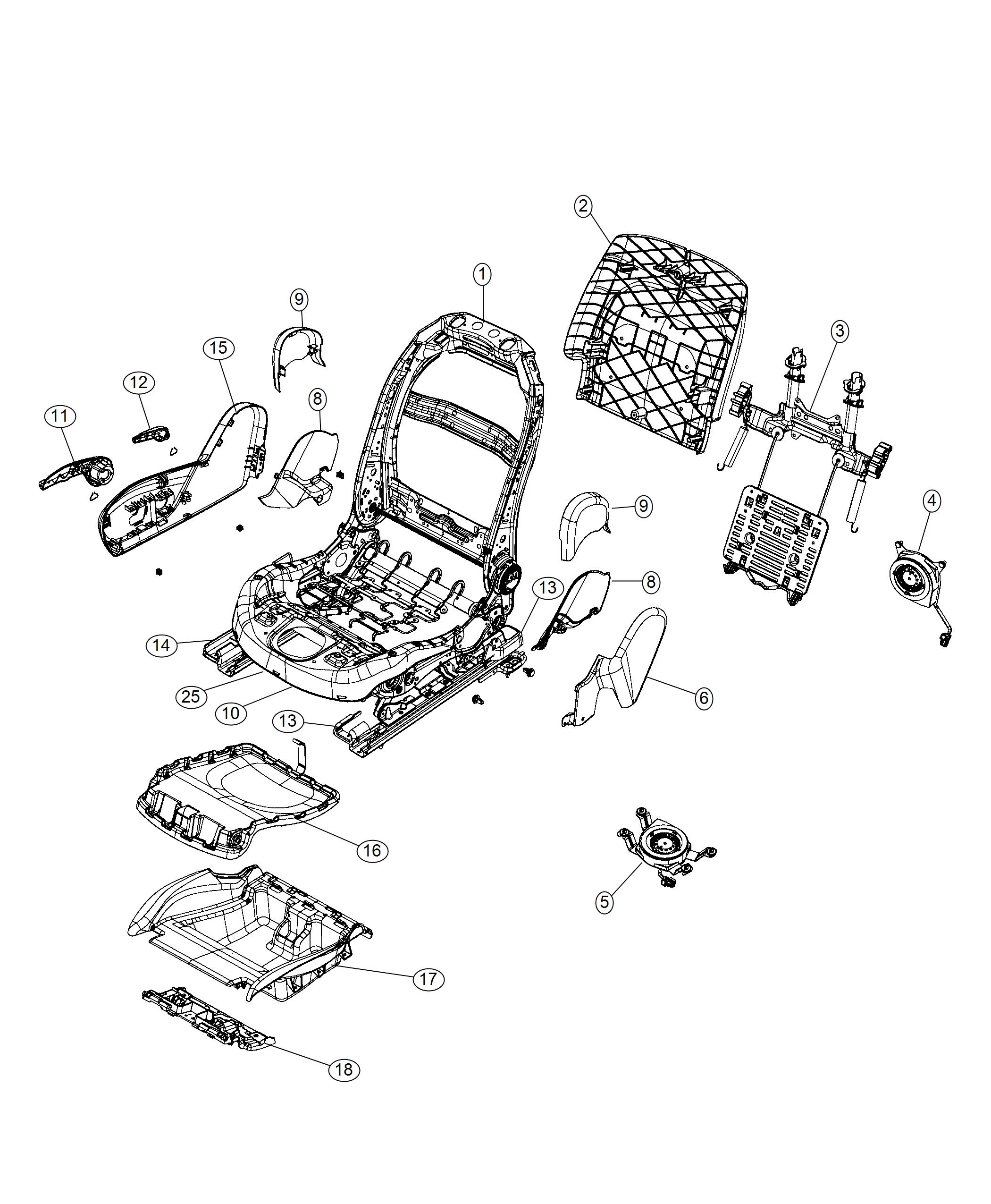 Jeep Cherokee Frame Front Seat Back Export Radio