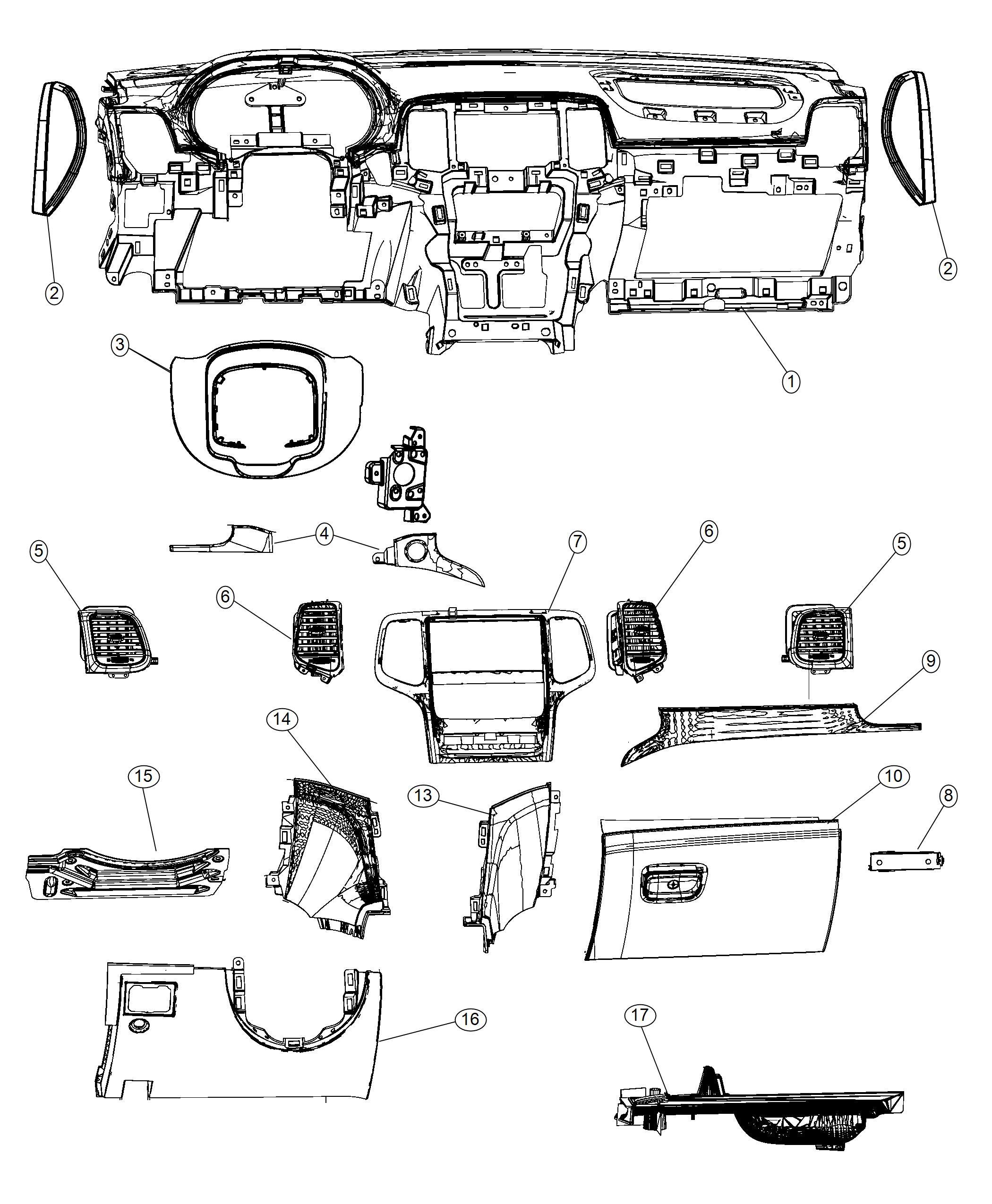 Dodge Magnum End Cap Instrument Panel Right Trim All