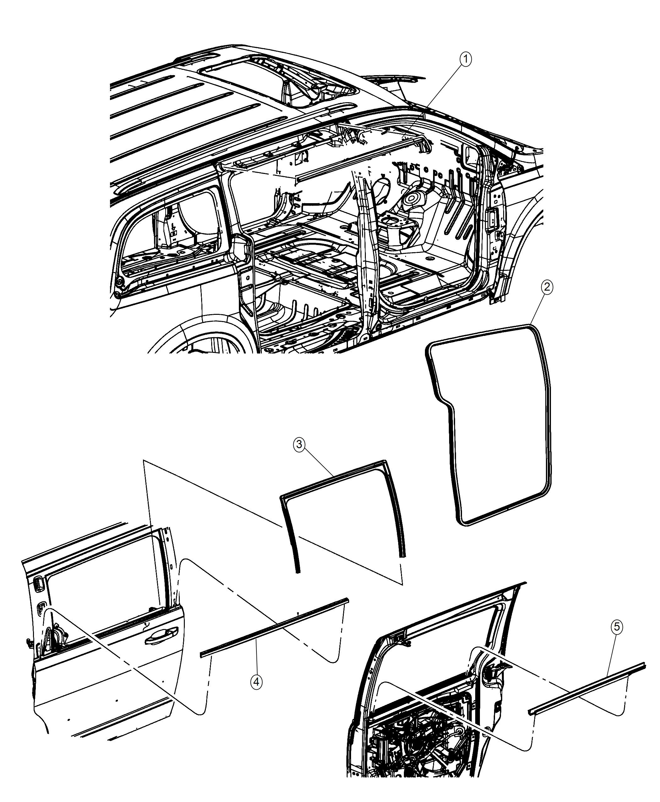 Dodge Grand Caravan Weatherstrip Rear Door Belt Inner