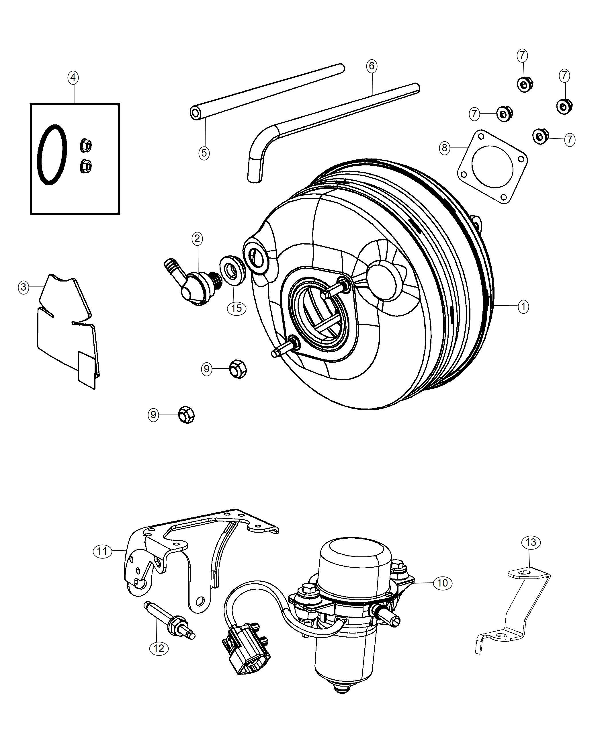 Dodge Grand Caravan Hose Brake Booster Vacuum Wheel
