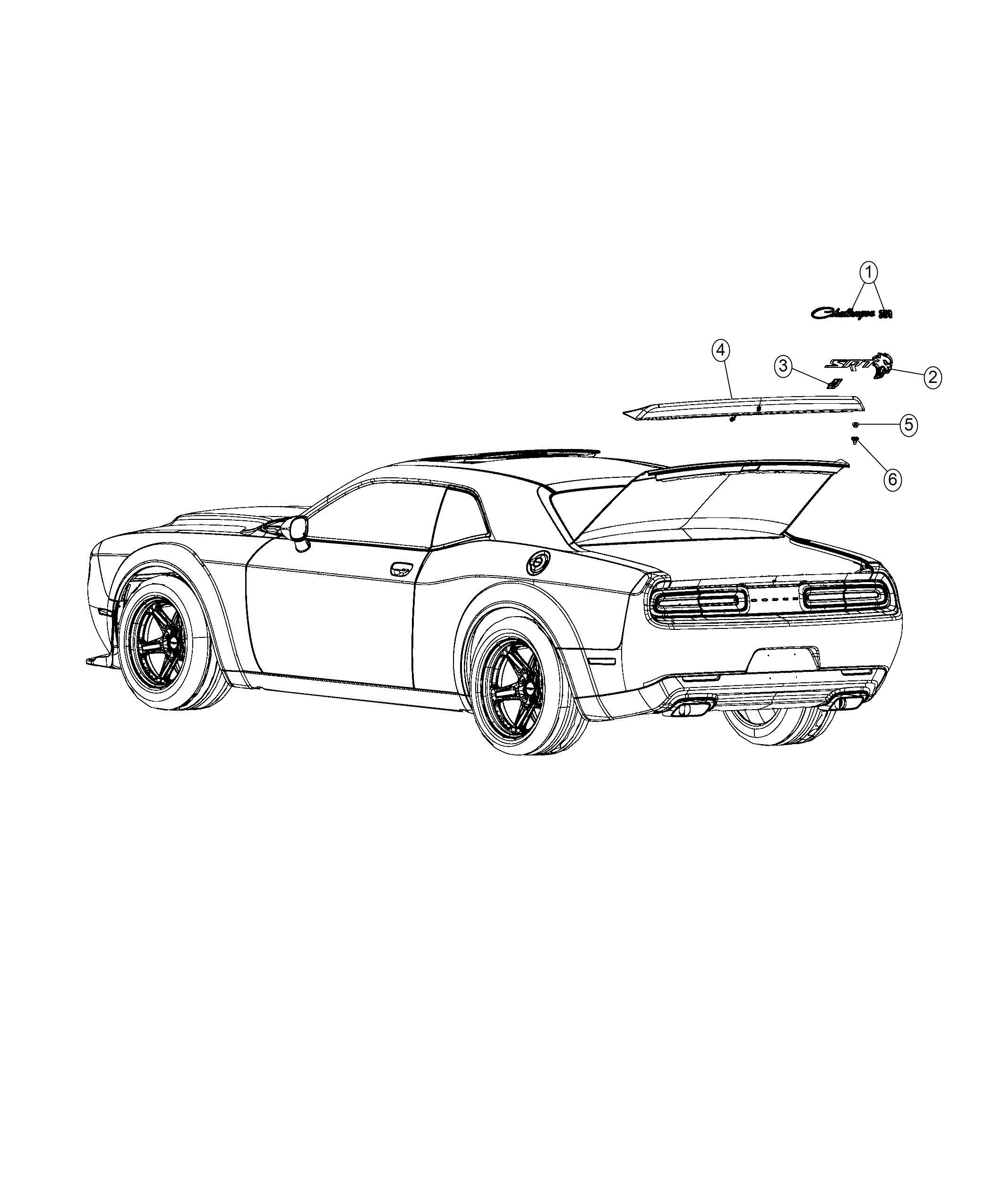 Dodge Challenger Nameplate Srt Hellcat Satin Black Rear