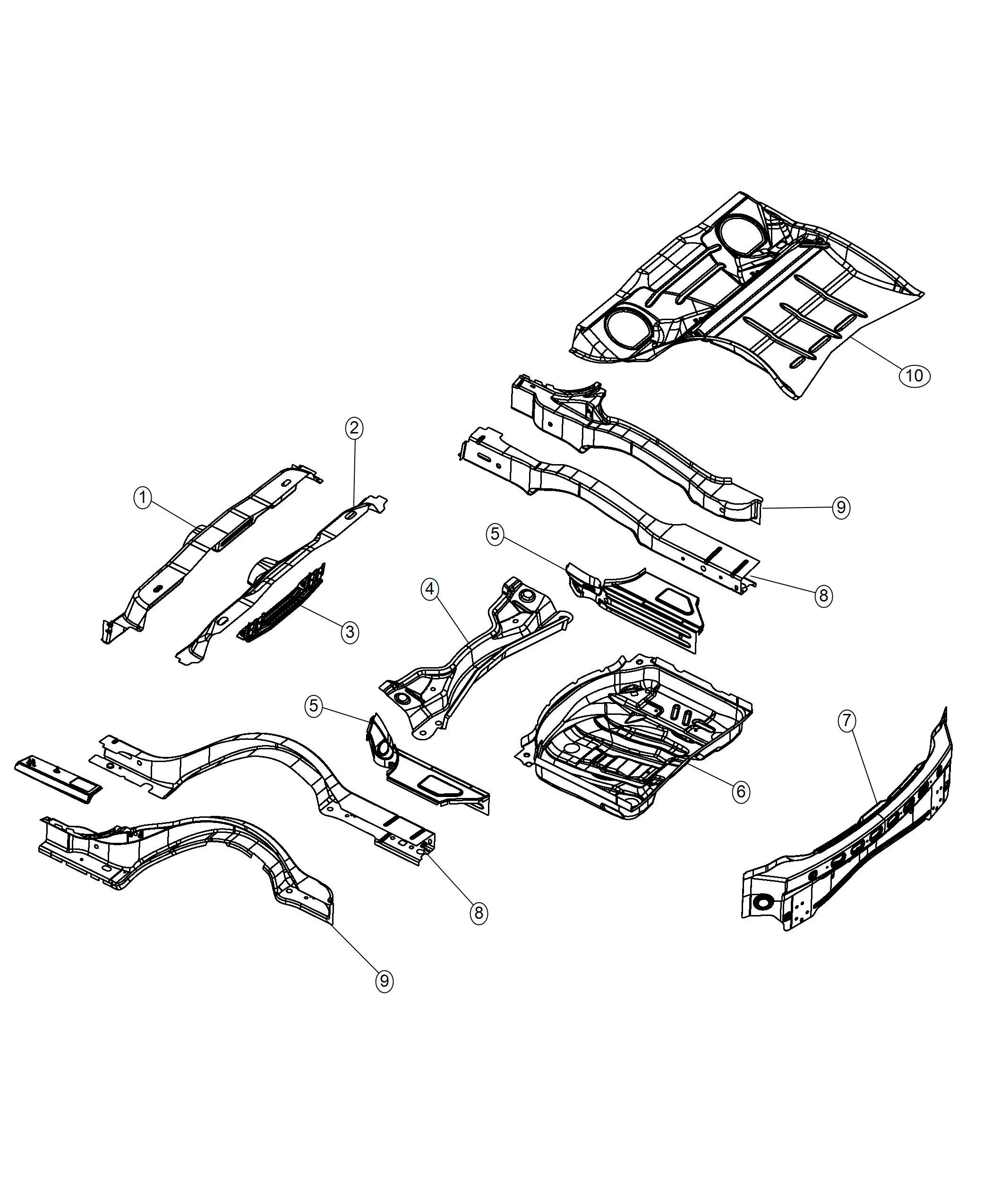 Dodge Charger Crossmember Floor Pan Rear