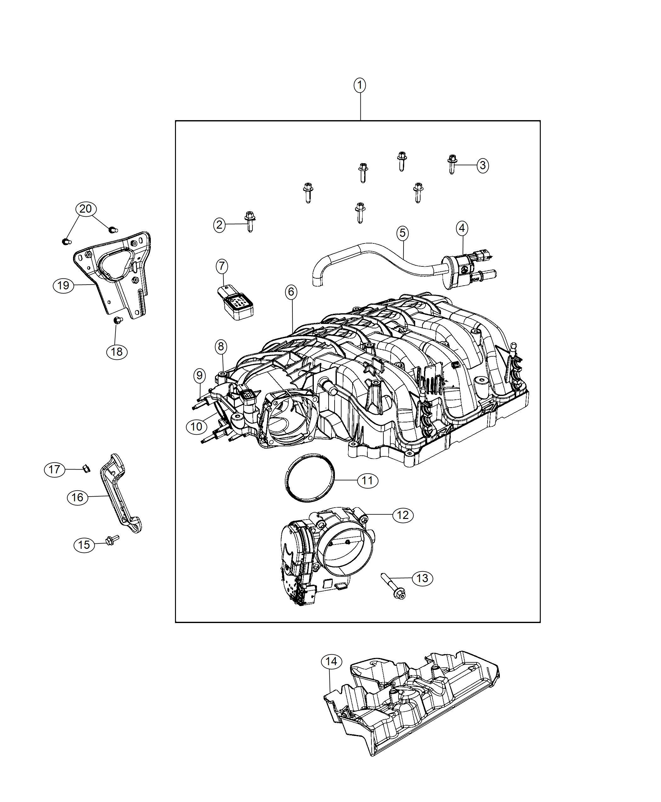 Chrysler Pacifica Hose Purge Plenum Manifold Intake