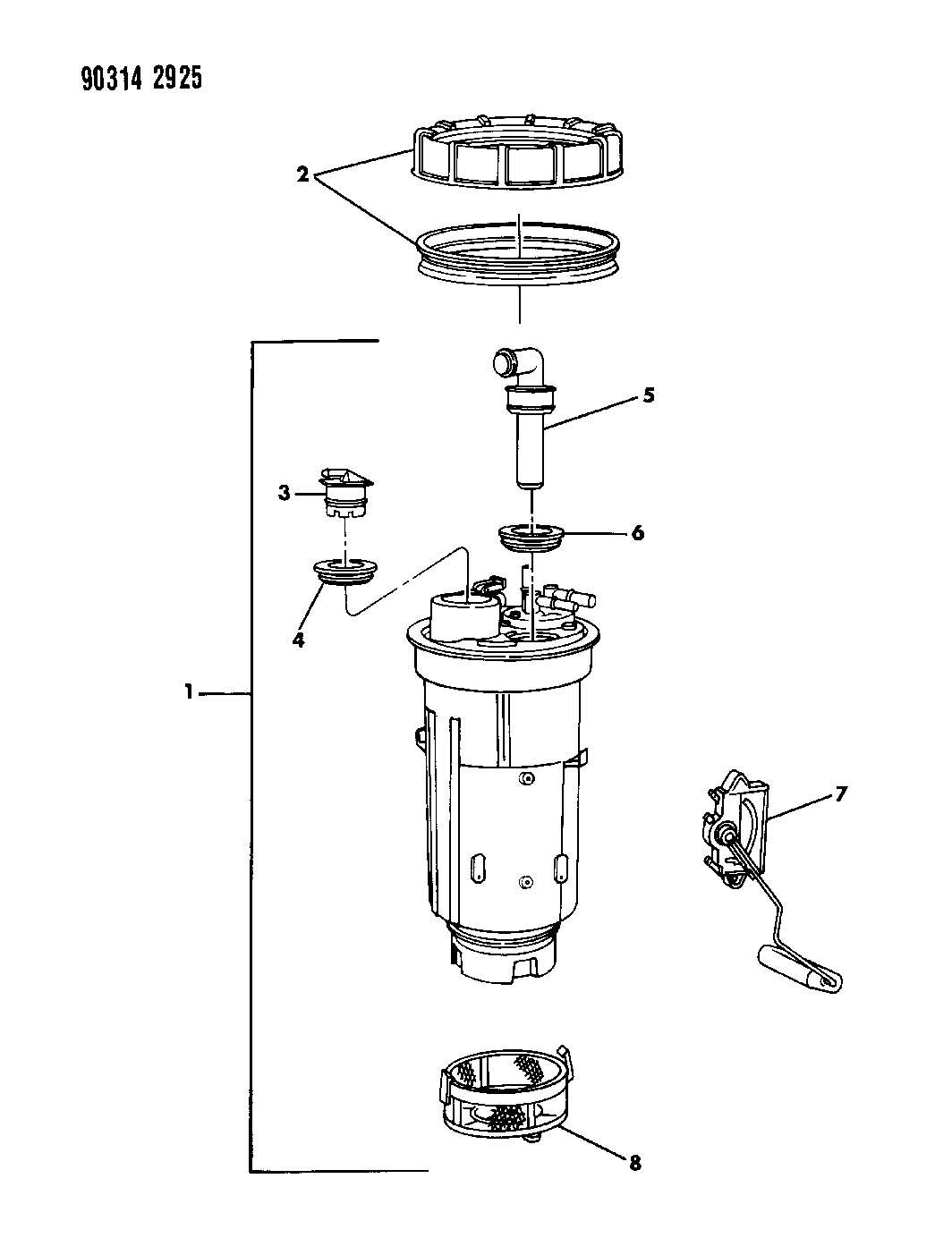 Dodge Dakota Fuel Pump And Level Unit 2 5 3 9 5 2