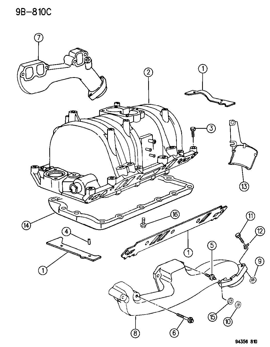 Dodge Dakota Manifold Intake And Exhaust 3 9l Engine