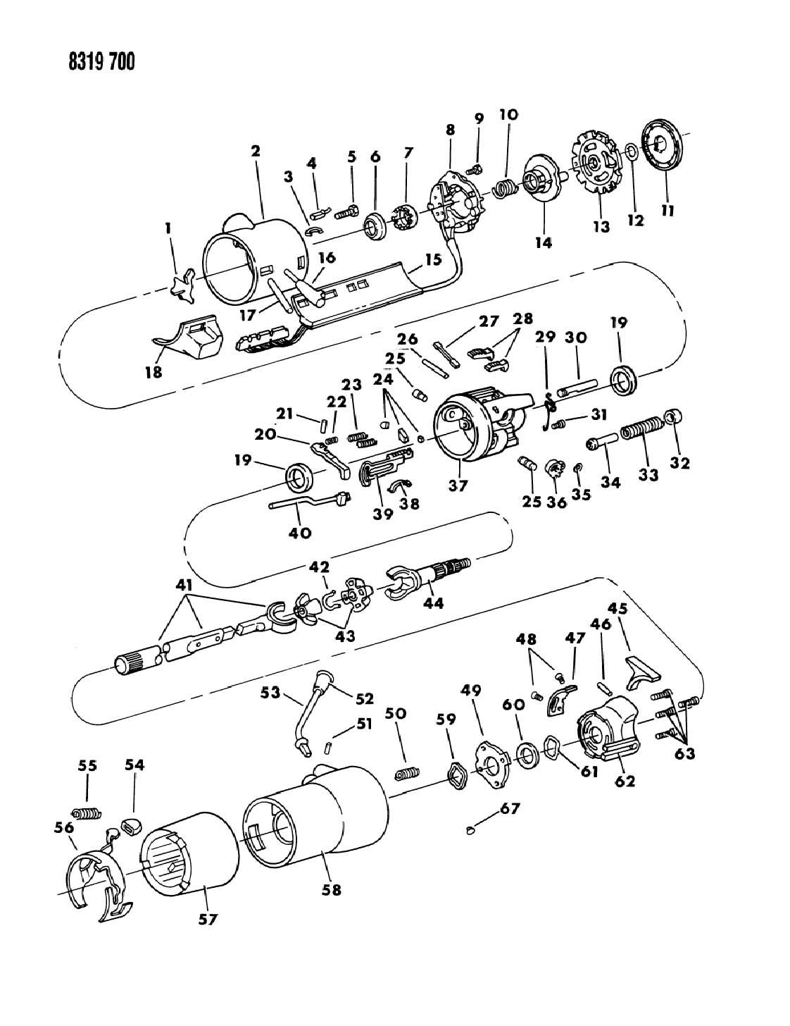 Dodge Column Steering Upper With Tilt B N D T Body