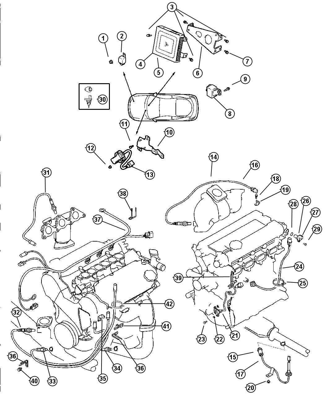 Chrysler Sebring Sensor Oxygen Downstream Rear