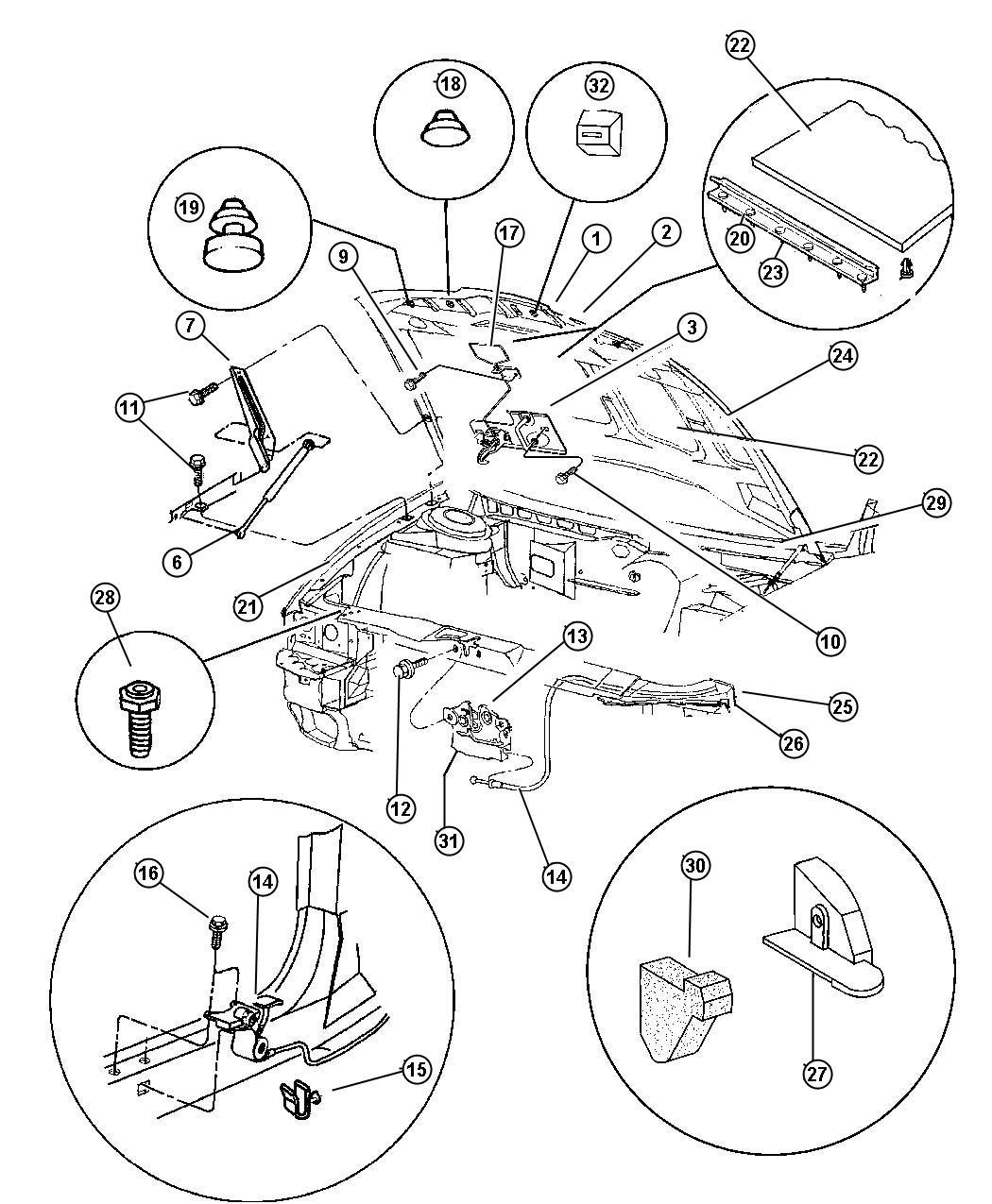 Chrysler Concorde Hinge Hood Left