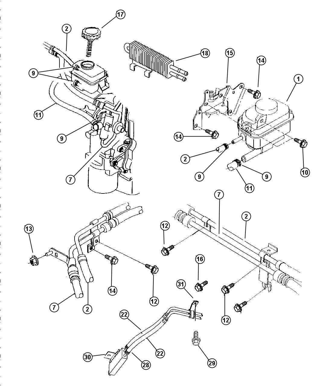 Dodge Stratus Hose Power Steering Pressure Pump To