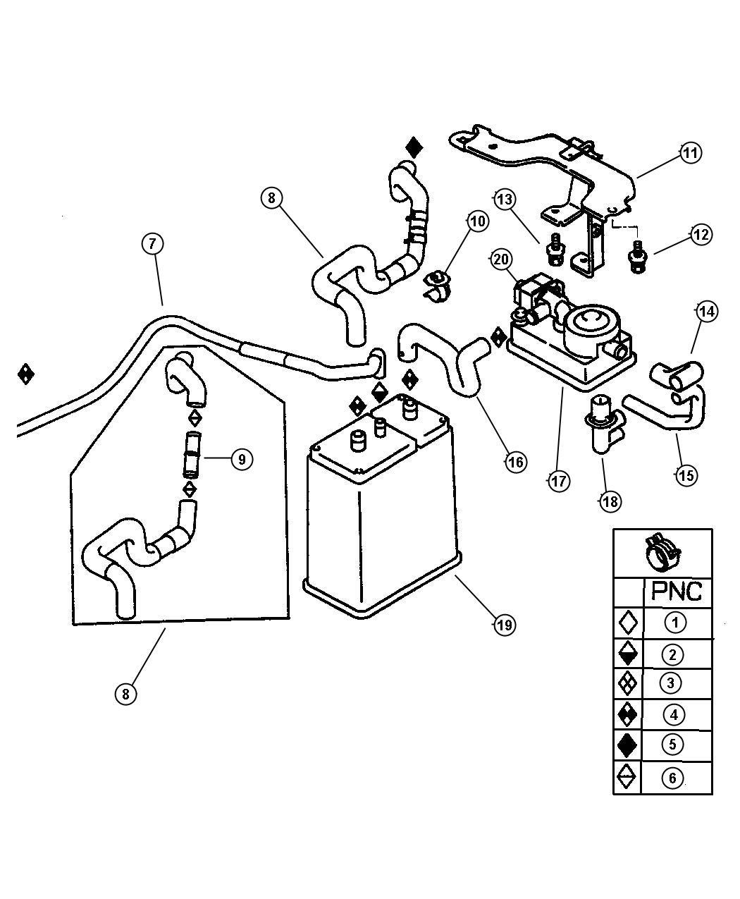 Dodge Stratus Hose Fuel Vapor Control Lx Lxi R T