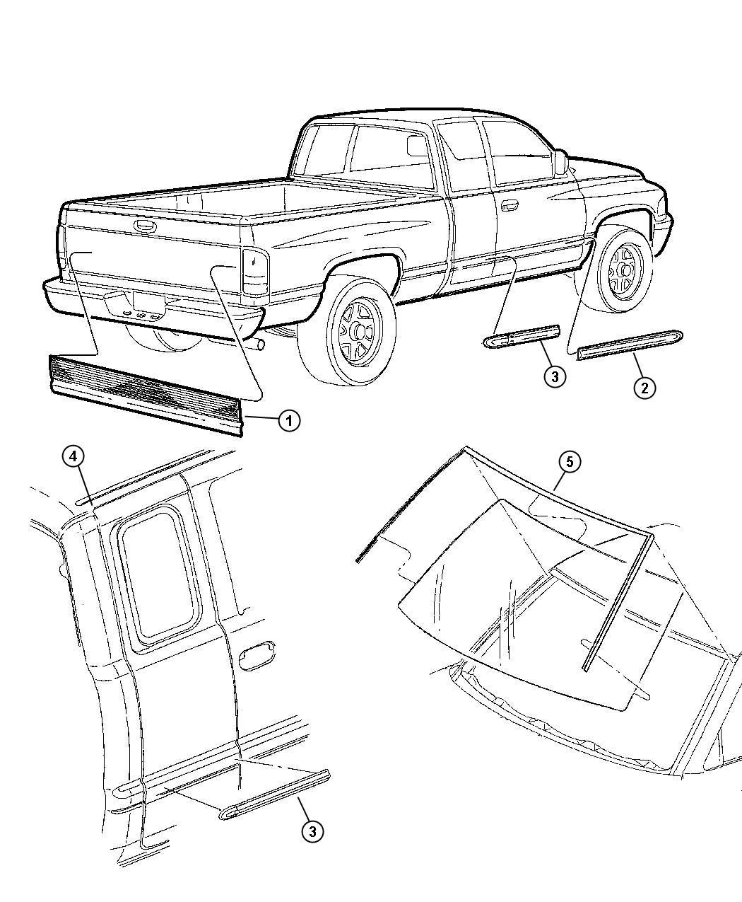 Dodge Ram Molding Left Roof Quarter Joint