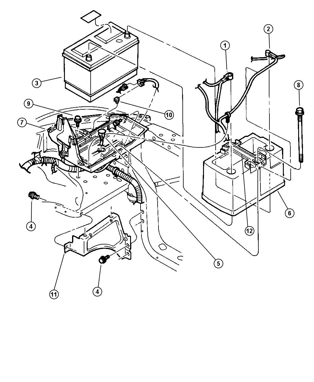 Dodge Durango Battery Tray And Cables