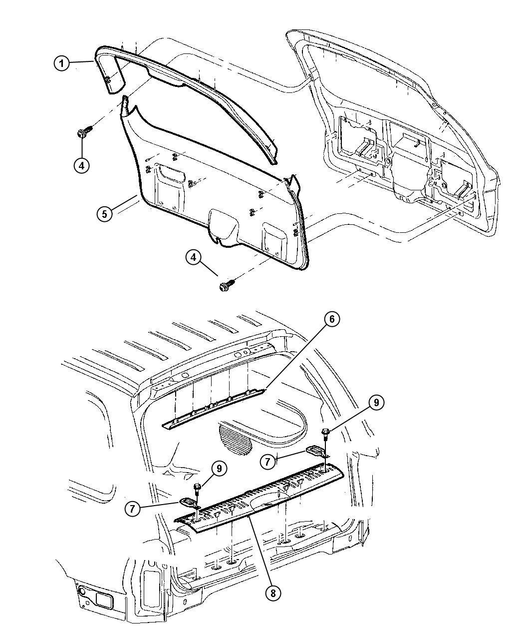 Dodge Durango Panel Liftgate Trim Upper L5 Trim All