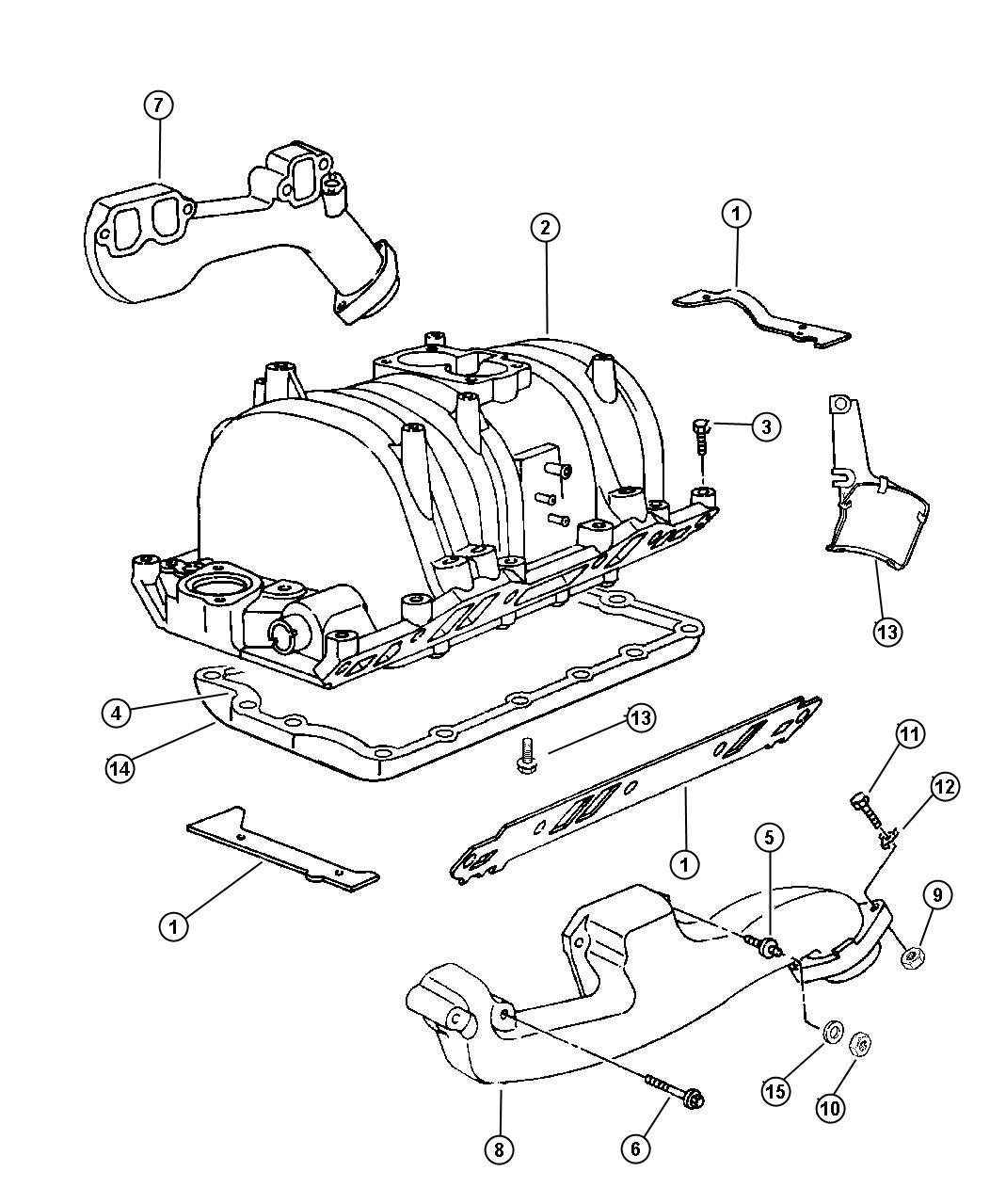 Dodge Ram Clamp Exhaust Manifold Emlemm Eln