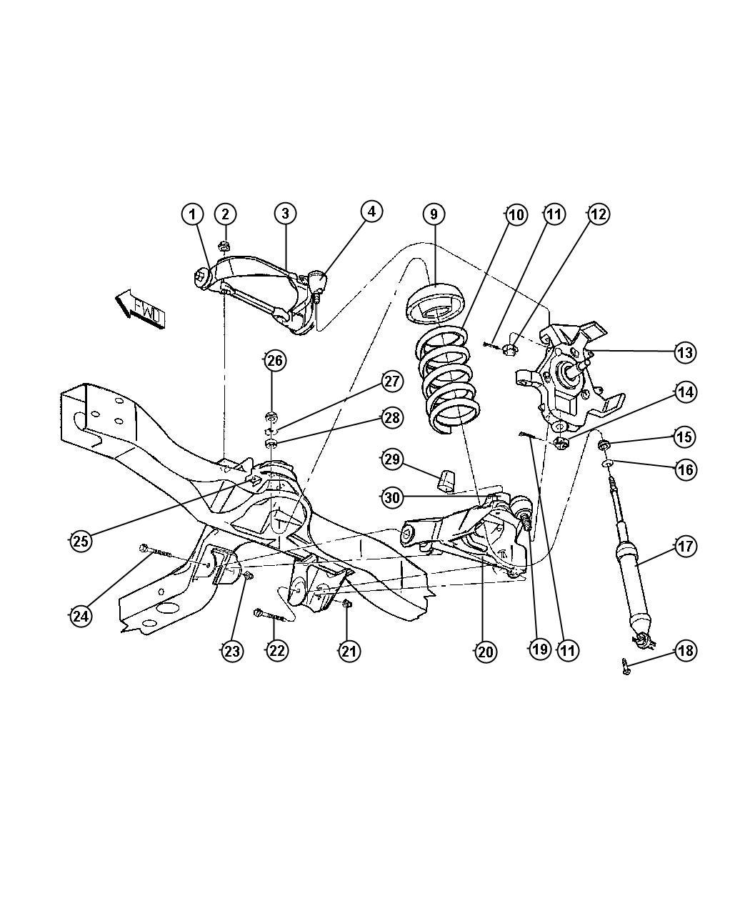 Dodge Bumper Jounce Lower Control Arm Upper Lca