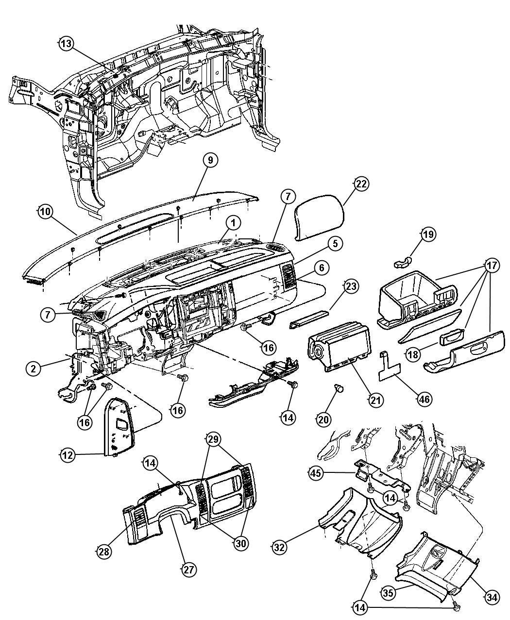 Dodge Durango Bezel Instrument Panel Lower Dl Dv