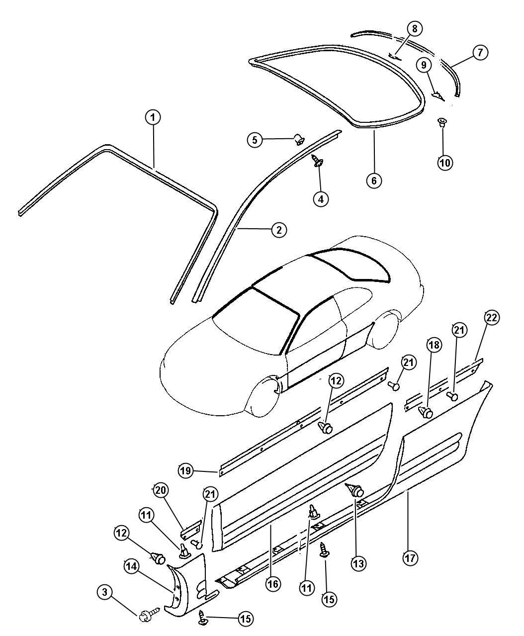 Chrysler Sebring Bracket Door Trim Panel Right