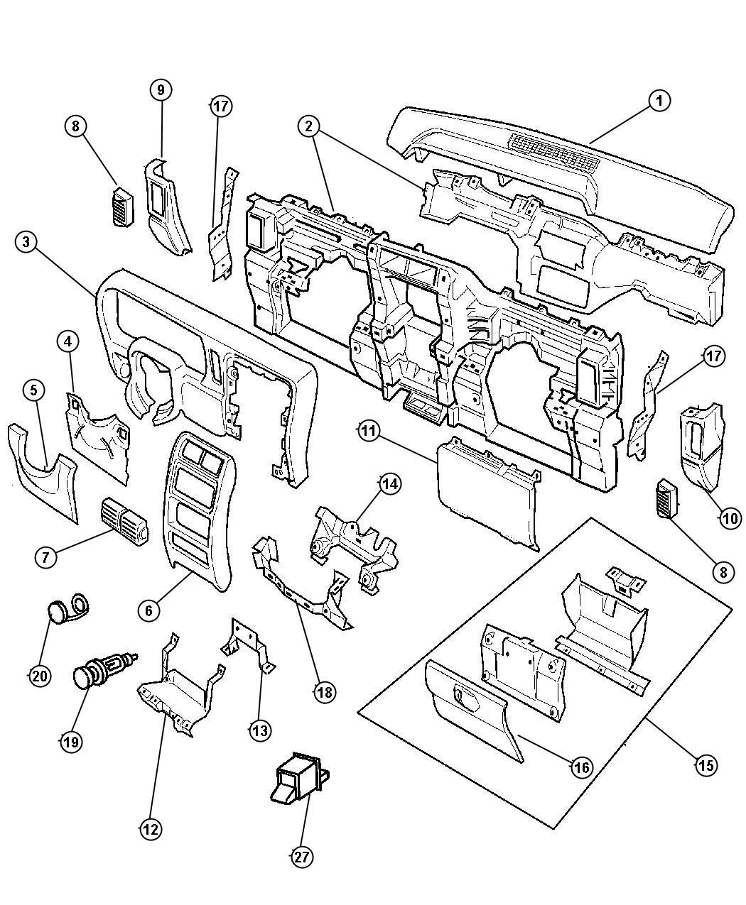 Jeep Cherokee Bezel Switch W 1 Switch Opening W Rear