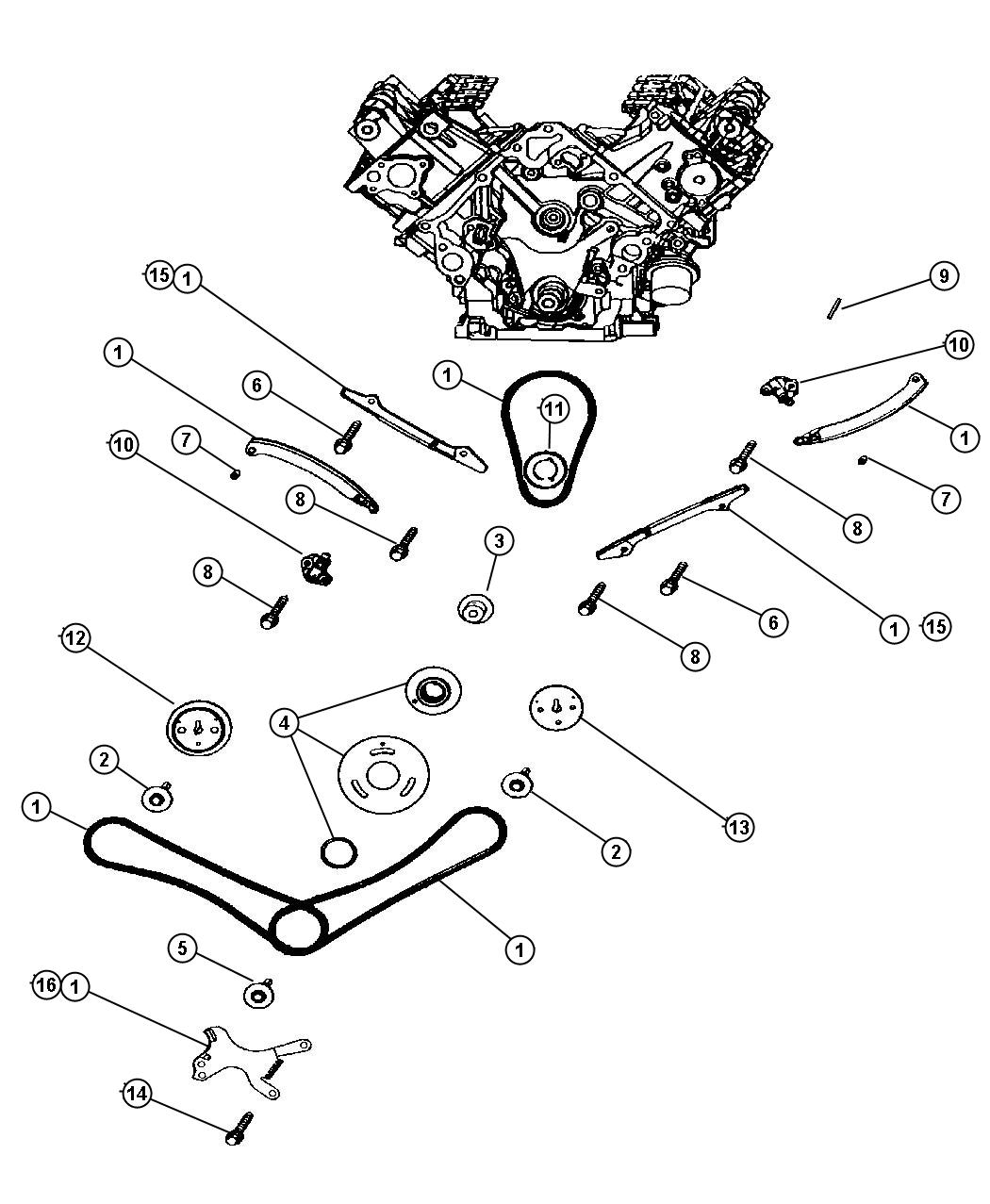 Dodge Ram Timing Chain And Guides 4 7l Engine