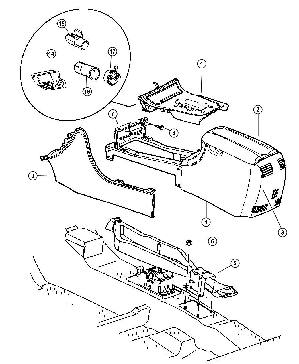 Dodge Intrepid Cupholder Console T5 Trim All Trim