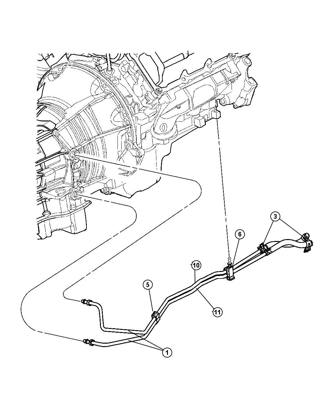 Dodge Ram Hose Transmission Oil Cooler