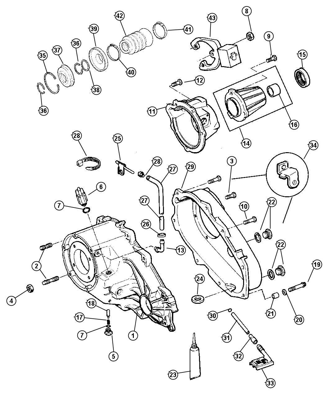 Jeep Cherokee Retainer Transfer Case Rear