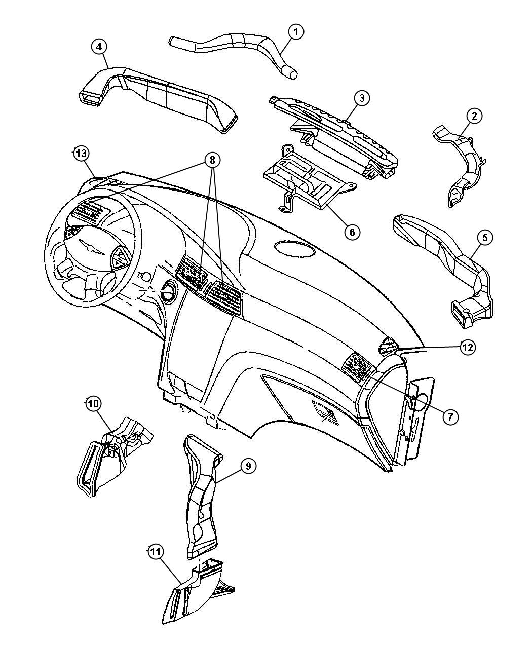 Chrysler Pacifica Duct Defroster Trim All Trim Codes