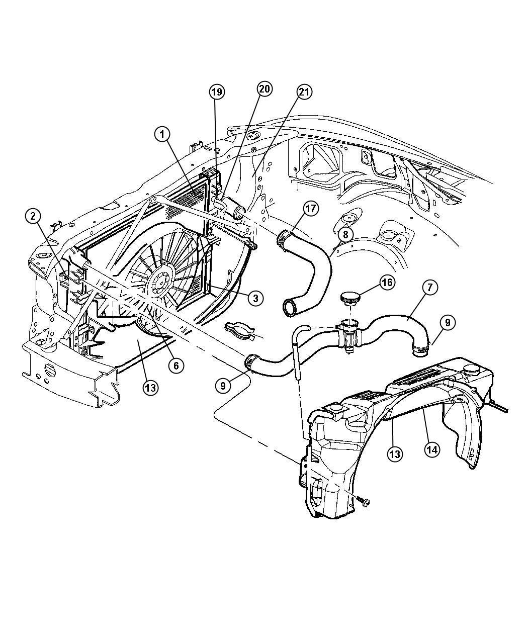 Dodge Journey Shroud Shroud Module Upper Fan