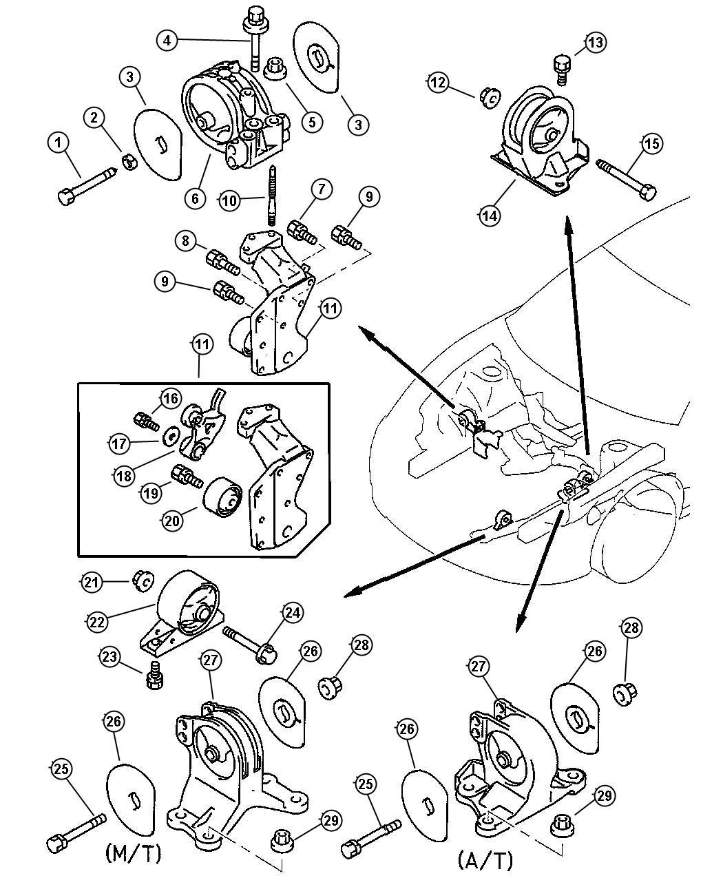 Chrysler Sebring Bracket Engine Roll Dampener Automatic