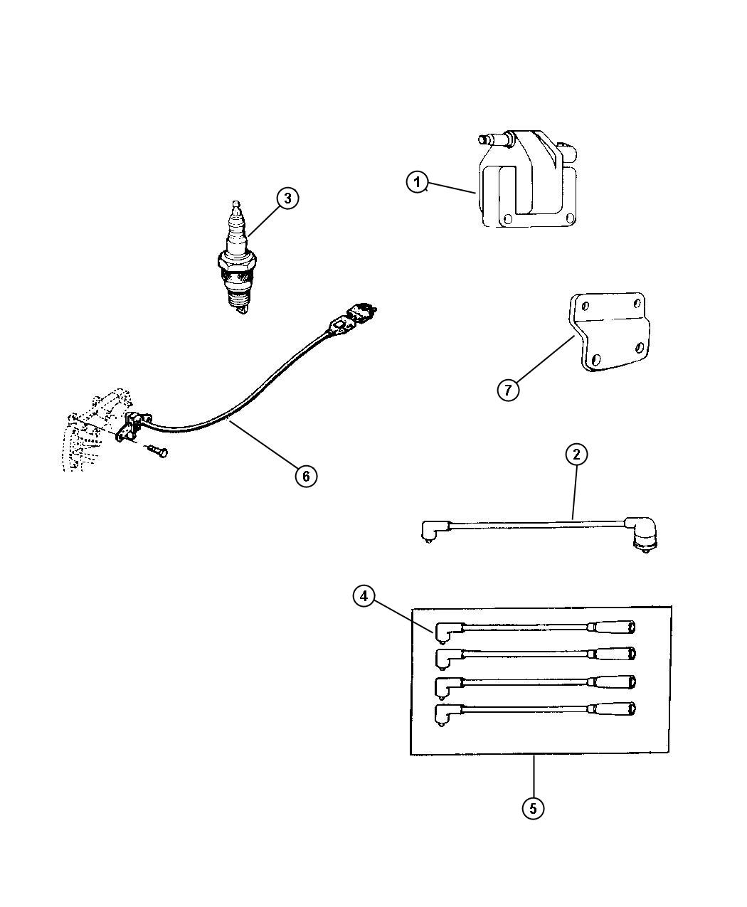 Jeep Cherokee Seperator Ignition Cable 4 0l Engine