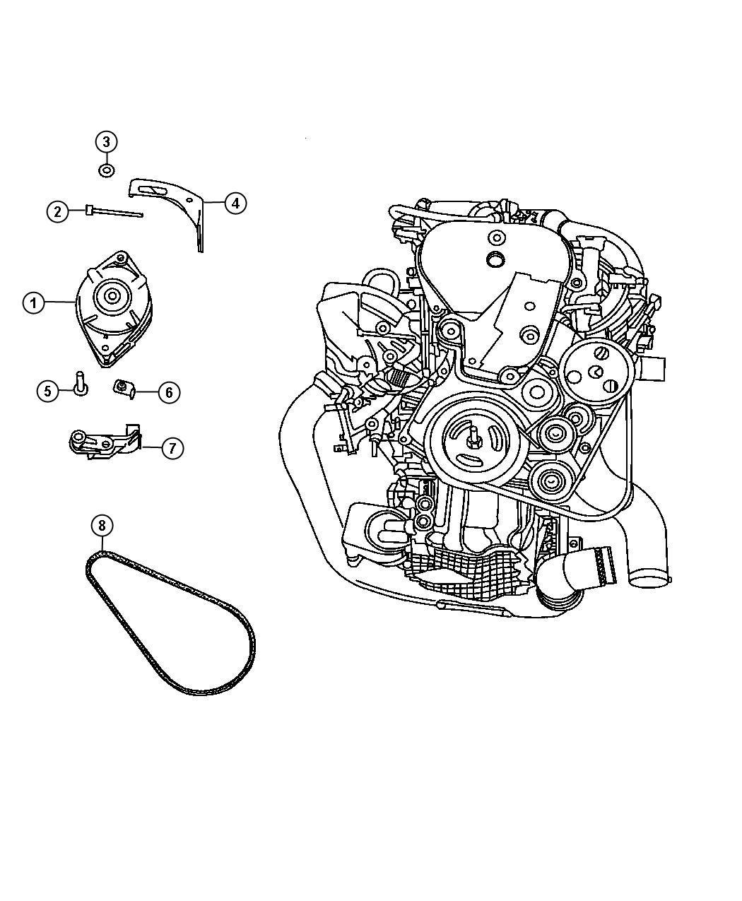 Alternator 2 4l 2 4l 4 Cyl Dohc 16v Turbo Engine Dohc
