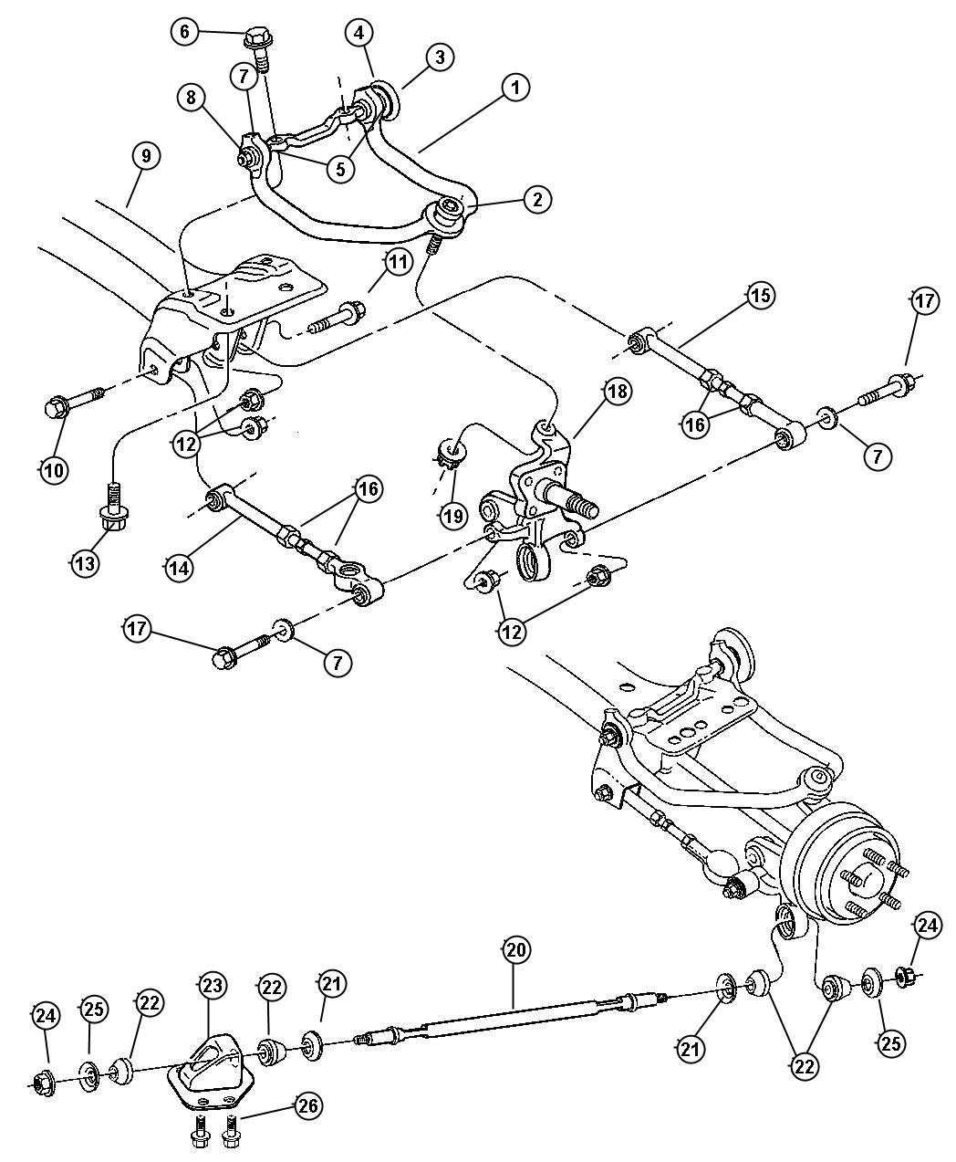 Dodge Stratus Crossmember Rear Suspension