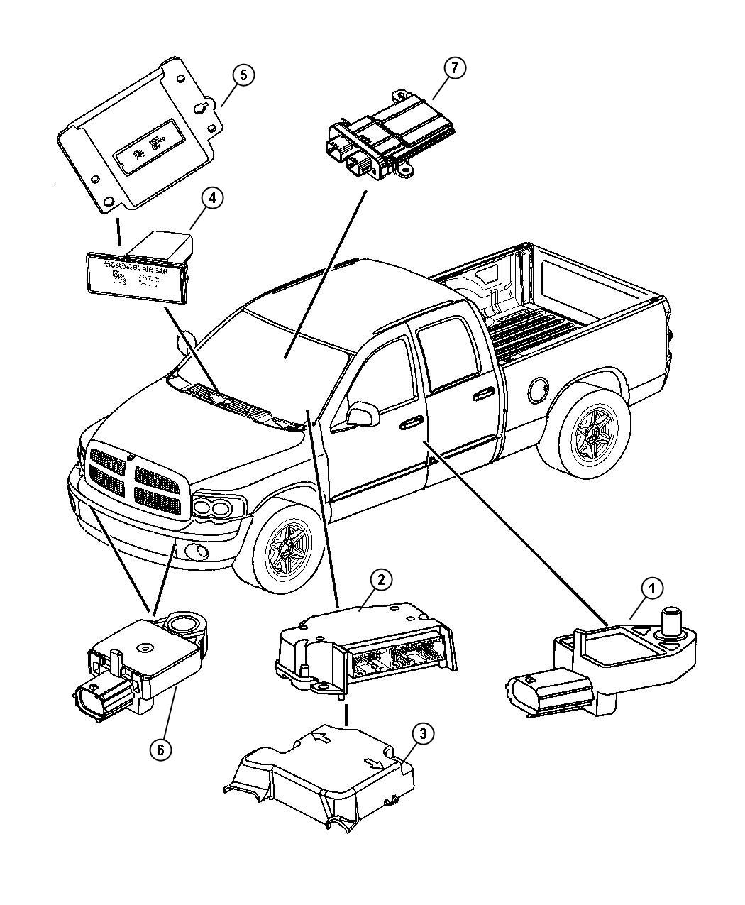 Dodge Ram Air Bag Modules And Sensors