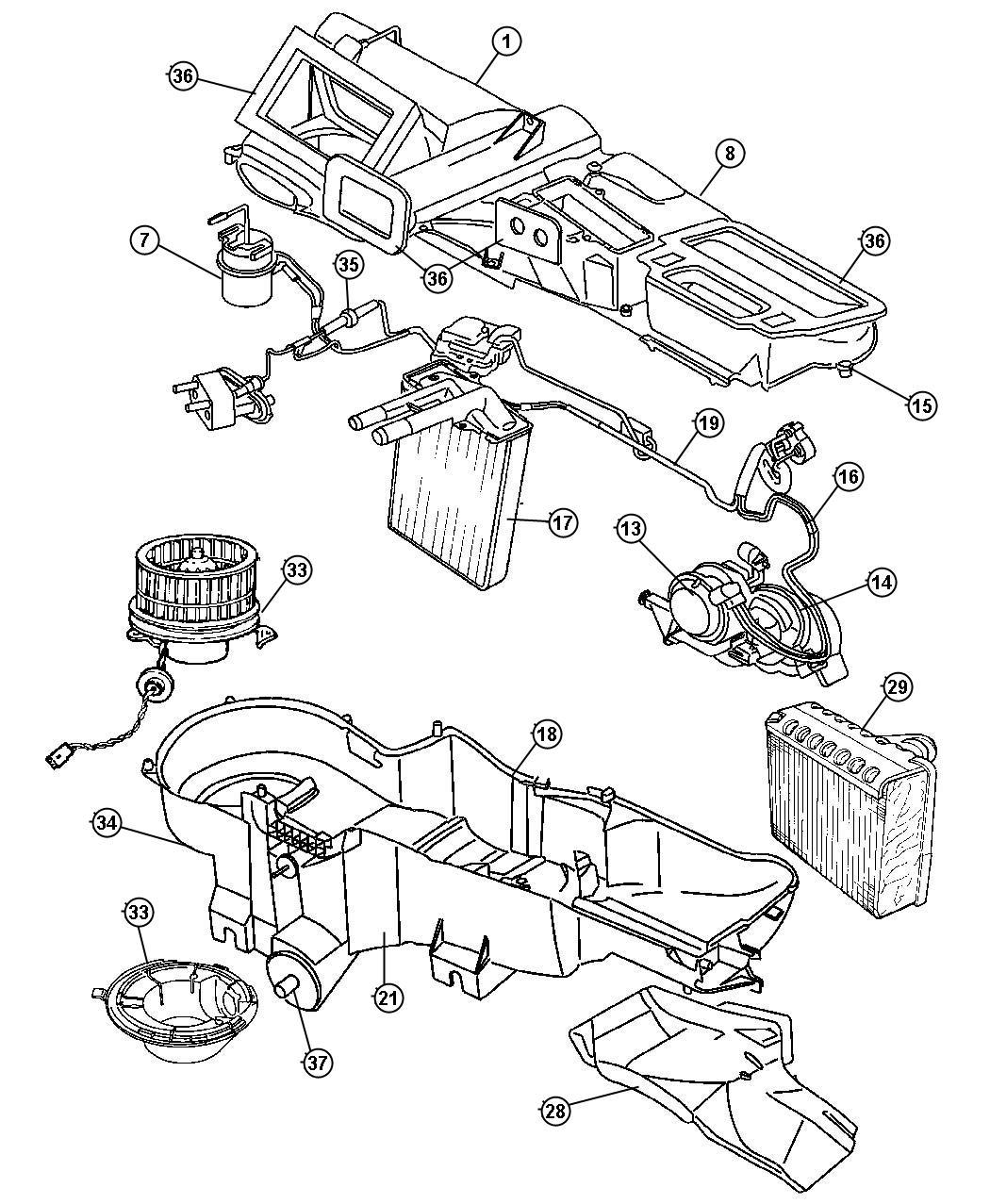 Jeep Liberty Core Heater Kit Heater Core Assembly