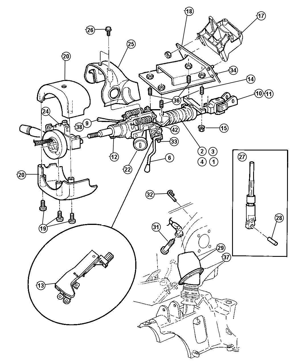 Dodge Ram Bolt Steering Inner Pivot Trim No