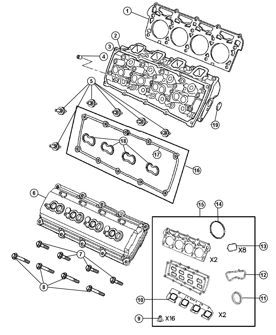 Chrysler Cover Cylinder Head Used For Right And